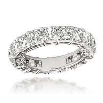Platinum Asscher Cut Diamond Eternity Ring Anniversary Band for Women 6ct