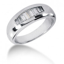 Platinum Baguette Diamond Men's Wedding Ring 0.65ct
