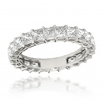 Platinum Cushion Cut Diamond Eternity Band Diamond Anniversary Ring 3ct