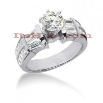 Platinum Diamond Engagement Ring 3.12ct