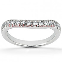 Thin Platinum Diamond Engagement Ring Band 0.28ct