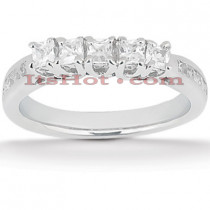Thin Platinum Diamond Engagement Ring Band 0.56ct