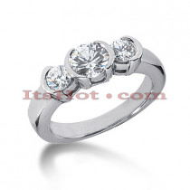 Thin Platinum Diamond Engagement Ring Mounting 0.14ct