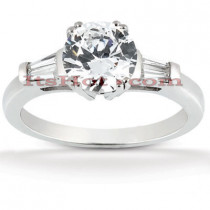 Thin Platinum Diamond Engagement Ring Mounting 0.28ct
