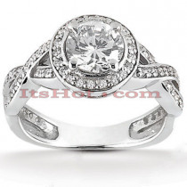 Halo Platinum Diamond Engagement Ring Mounting 0.37ct