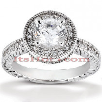 Halo Platinum Diamond Engagement Ring Mounting 0.52ct