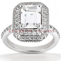 Halo Platinum Diamond Engagement Ring Mounting 0.58ct