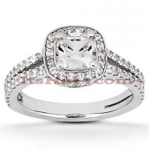 Halo Platinum Diamond Engagement Ring Mounting 0.59ct