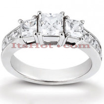 Thin Platinum Diamond Engagement Ring Mounting 0.64ct