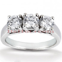 Thin Platinum Diamond Engagement Ring Mounting 0.66ct
