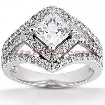 Halo Platinum Diamond Engagement Ring Mounting 0.74ct