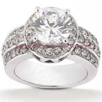 Halo Platinum Diamond Engagement Ring Mounting 0.78ct
