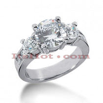 Thin Platinum Diamond Engagement Ring Mounting 0.94ct