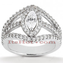 Halo Platinum Diamond Engagement Ring Mounting 0.95ct