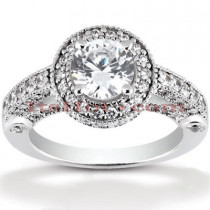Halo Platinum Diamond Engagement Ring Mounting 0.99ct
