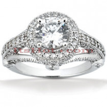 Halo Platinum Diamond Engagement Ring Mounting 1.16ct