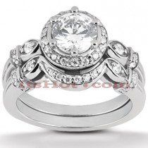 Platinum Diamond Engagement Ring Set 1.42ct