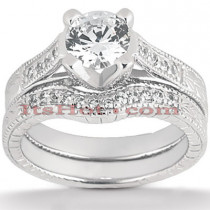 Platinum Diamond Engagement Ring Set 1.5ct