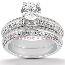 Platinum Diamond Engagement Ring Set 1.92ct
