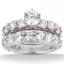 Platinum Diamond Engagement Ring Set 6.24ct