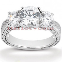 Ultra Thin Platinum Diamond Engagement Ring Setting 0.14ct