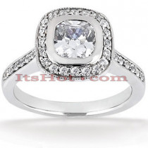 Halo Platinum Diamond Engagement Ring Setting 0.26ct