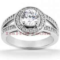 Halo Platinum Diamond Engagement Ring Setting 0.32ct