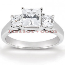 Thin Platinum Diamond Engagement Ring Setting 0.34ct
