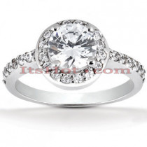 Halo Platinum Diamond Engagement Ring Setting 0.34ct