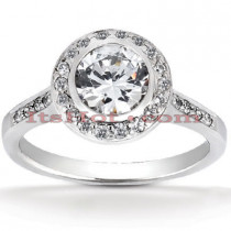 Halo Platinum Diamond Engagement Ring Setting 0.35ct