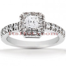Halo Platinum Diamond Engagement Ring Setting 0.39ct