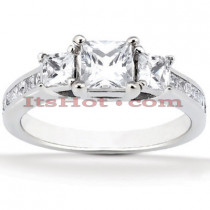 Ultra Thin Platinum Diamond Engagement Ring Setting 0.42ct
