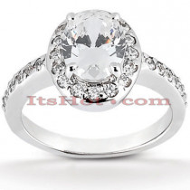 Halo Platinum Diamond Engagement Ring Setting 0.42ct