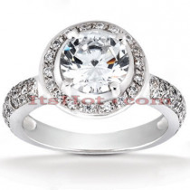 Halo Platinum Diamond Engagement Ring Setting 0.44ct