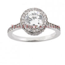 Halo Platinum Diamond Engagement Ring Setting 0.54ct