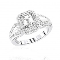 Halo Platinum Diamond Engagement Ring Setting 0.56ct