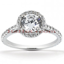 Halo Platinum Diamond Engagement Ring Setting 0.64ct