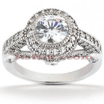 Halo Platinum Diamond Engagement Ring Setting 0.75ct