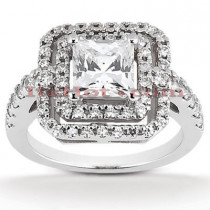 Halo Platinum Diamond Engagement Ring Setting 0.76ct