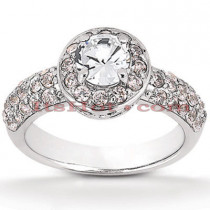Halo Platinum Diamond Engagement Ring Setting 0.92ct