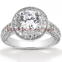 Halo Platinum Diamond Engagement Ring Setting 1.07ct