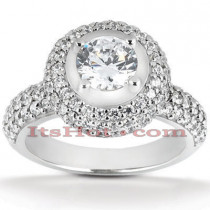 Halo Platinum Diamond Engagement Ring Setting 1ct