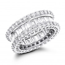 Platinum Diamond Eternity Band with Baguette and Round Diamonds 5.72ct