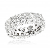 Platinum Round Cut Diamond Eternity Band 6 Carat Anniversary Ring