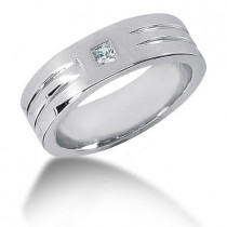 Platinum Diamond Men's Wedding Band 0.10ct