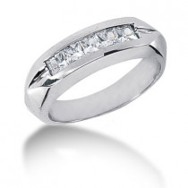 Platinum Diamond Men's Wedding Band 0.85ct