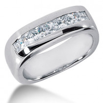 Platinum Diamond Men's Wedding Band 1.40ct