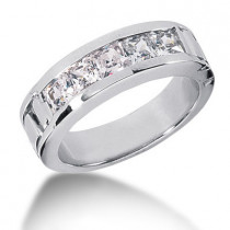 Platinum Diamond Men's Wedding Band 2ct