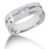 Platinum Diamond Men's Wedding Ring 0.34ct