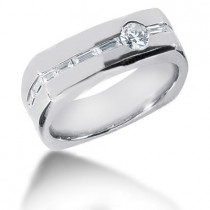 Platinum Diamond Men's Wedding Ring 0.74ct